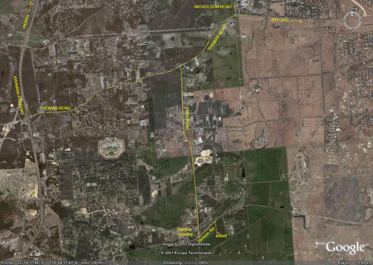 Google Earth view of roads to KAMS field. Click on image for larger scale.