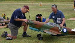 Ken Greaves readies his large P-40 Warhawk